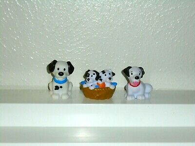 Fisher Price Little People Dalmatian Pet Dog Puppy Family Toy Figure Lot of 3