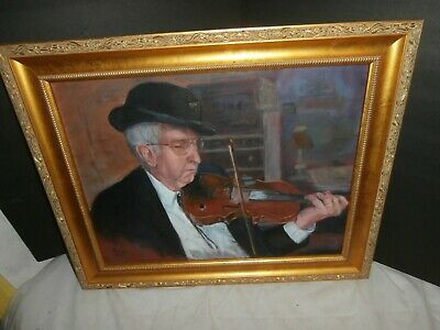 Painting of Champion Bluegrass Fiddler Charlie McDowell by Richard Dick Neff