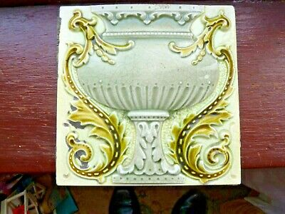 Stunning Original Antique Art Nouveau Majolica Tile C1902