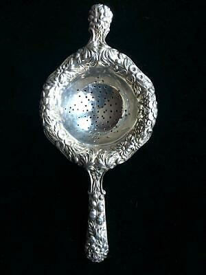 Antique S Kirk & Son Sterling Silver Repousse Over The Cup Ornate Tea Strainer 1
