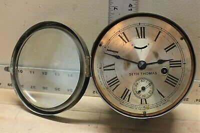 Antique Seth Thomas Ship's Lever Clock One Day Marine 19th Century Working Order