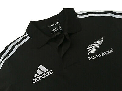 Mens ADIDAS ALL BLACKS POLO T-SHIRT Rugby Union Tee Training Top L / 42-44