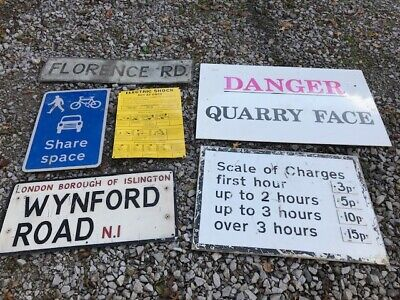 Collection of vintage road sign 6 in total, Early London car park, london street