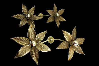 Pair Of Large Double Flower Sconces Willy Daro For Massive Lighting Belgium 1970
