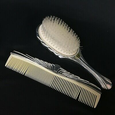Vintage Art Deco Silver Plated Hair Brush Comb Set Hong Kong Excellent Unused