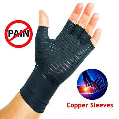 Anti Arthritis Copper Fingerless Compression Gloves Fit Therapy Circulation NHS