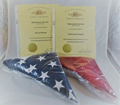 US & Missouri State Flags Flown in Front of State Capitol Rep Nate Tate COAs