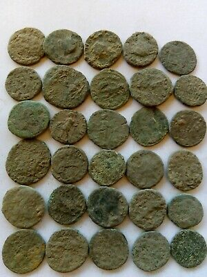 004.Lot of 30 Ancient Roman Bronze Coins,Uncleaned
