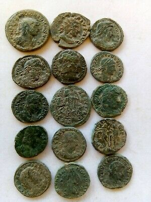 006.Lot of 15 Ancient Roman Bronze Coins,Uncleaned