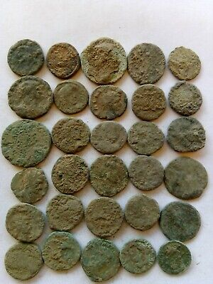 012.Lot of 30 Ancient Roman Bronze Coins,Uncleaned
