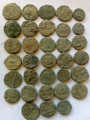 015.Lot of 30 Ancient Roman Bronze Coins,Uncleaned