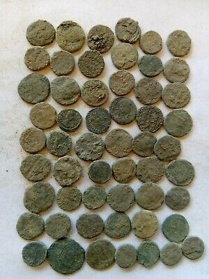 019.Lot of 55 Ancient Roman Bronze Coins,Uncleaned