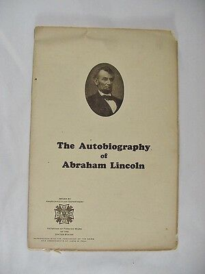 THE AUTOBIOGRAPHY OF ABRAHAM LINCOLN  4-page Foldout Booklet
