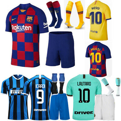 19/20 Messi Football Home Away Kid Youth 3-14Y Kit Shirt Soccer Jersey Club Suit