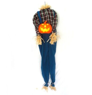 """Animated Mouth Headless Scarecrow Pumpkin Lighted Halloween Decoration Prop 62"""""""
