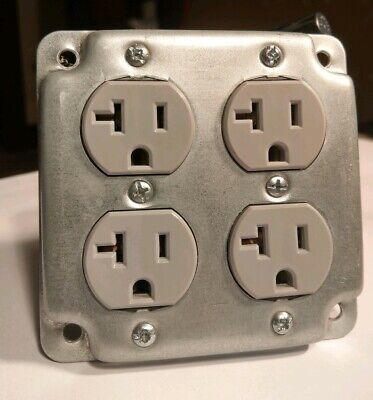 (12) Leviton CR20-GY 20A 125VAC Gray Duplex Receptacle Plugs and Raco faceplates