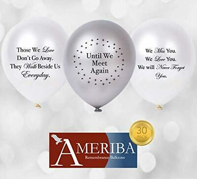 Biodegradable Remembrance Balloons: 30pc White & Silver Personalizable Funeral B