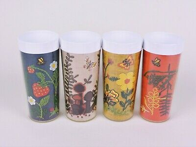Vintage Thermo Serve Plastic Insulated Glasses Tumblers Set of 4 Embroidery Look