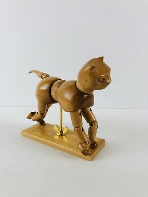 Wooden Jointed Cat Articulated Artist Model Figure Poseable Kitty Mannequin
