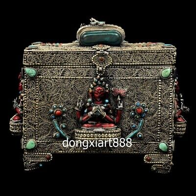 Tibet Silver Wire inlay turquoise coral niche for Buddha Shakyamuni  jewelry Box