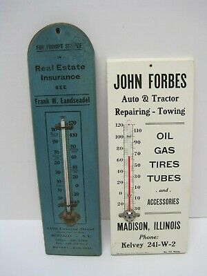 Vintage Advertising Thermometers on Wood Bases