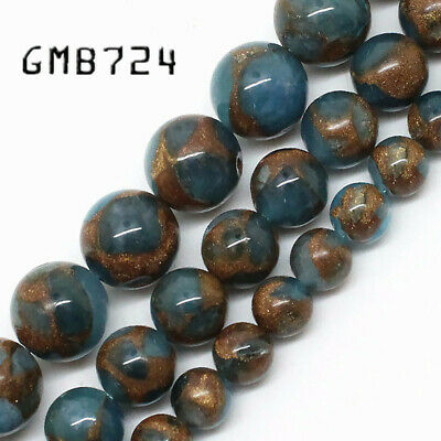 Natural Lake Blue Cloisonne Stone Round Loose Beads For Jewelry Making 6 8 10 mm