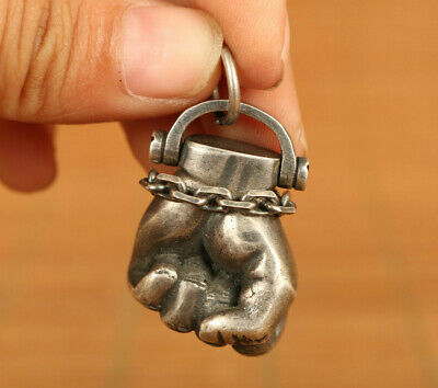 chine S925 silver hand carved cheer fist statue pendant netsuke exquisite gift