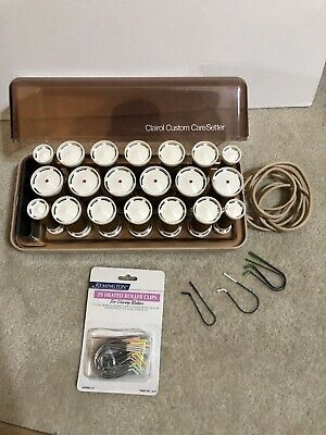 Vintage Clairol Custom CareSetter KF-20 Hot Rollers Curlers W/Clips