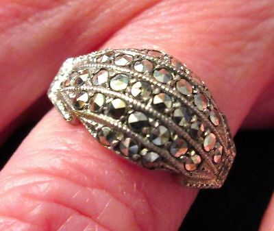 Antique Art Deco Sterling Silver Marcasite Dom Shaped Ring 1920-30s