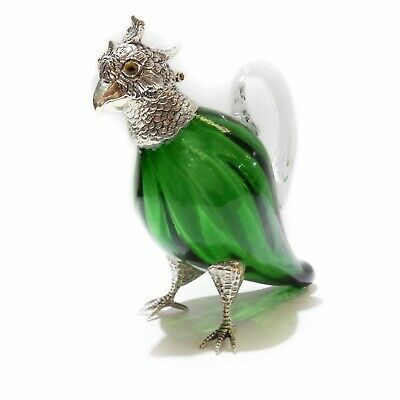 Victorian Crichton Parrot Glass Decanter Jug Silverplate