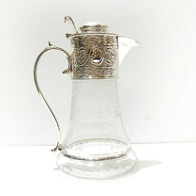 Victorian Glass Decanter Claret Jug Silverplate