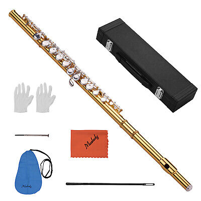 Muslady Closed Hole C Flute Cupronickel Gold-plated Tube 16 Silver-plated Keys