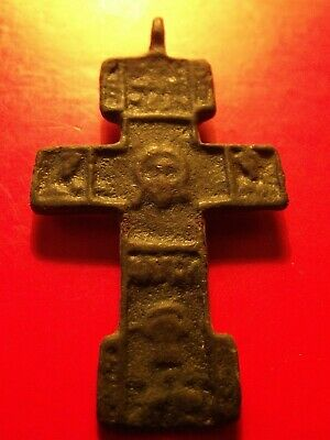 Antique St. Nicolas Russia Empire 16 th Brass Cross Christian Orthodox 3.64 g