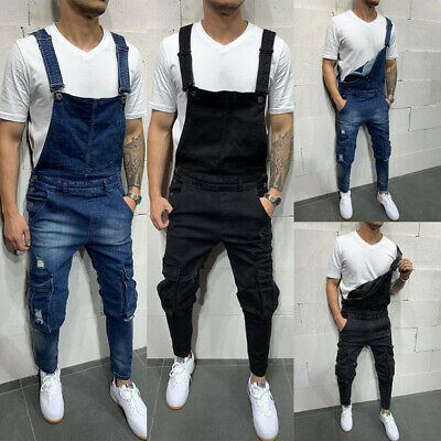 Mens Denim Ripped Cargo Overalls Dungarees Jeans Bib Pants Jumpsuit Trousers