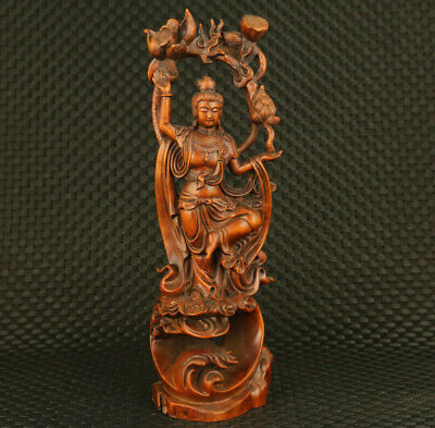 Rare china old boxwood hand carved Guanyin lotus statue pray temple