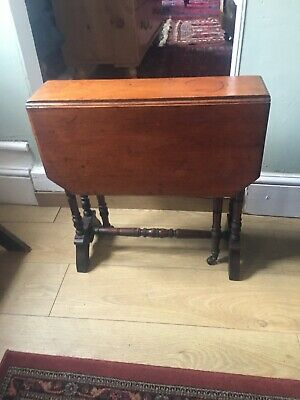 Small old antique gothic Rectangle solid Oak Drop Leaf occasional side table