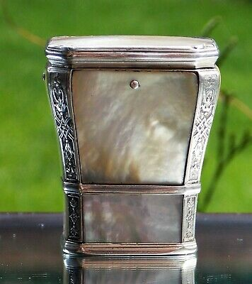 BEAUTIFUL 18TH CENTURY GEORGE II MOTHER of PEARL & SOLID SILVER SNUFF BOX C1730
