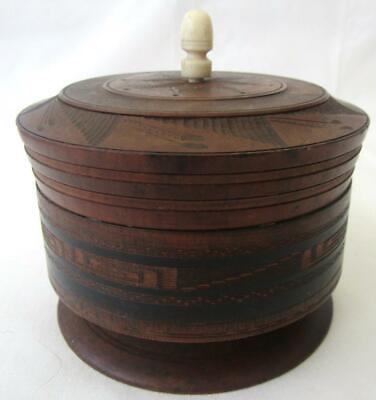 Antique Very Old Turned Wood Treen Footed Tobacco Jar Snuff Box Bone Finial Knob