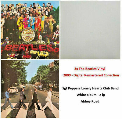 3x Vinyl The Beatles - Sgt Pepper's, White Album, Abbey Road - Remaster 2009