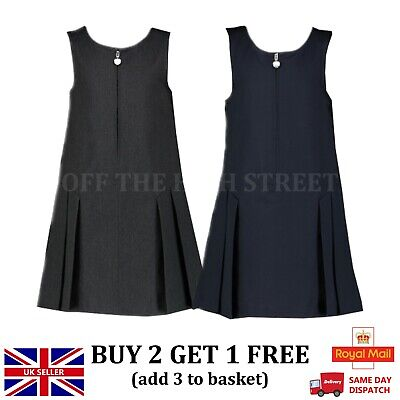 Girls Ex Store School Pleated Pinafore Grey Navy Heart Zip Front School Uniform