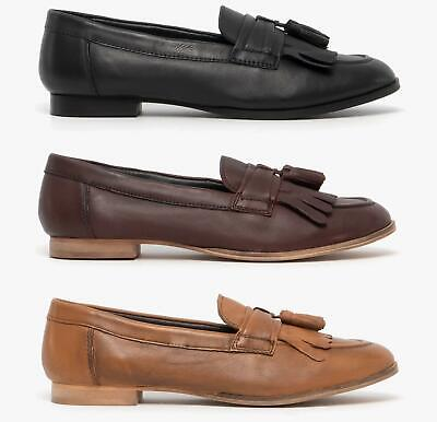 Comfort Plus FRINGE Ladies Womens Genuine Smooth Leather Slip-On Casual Loafers