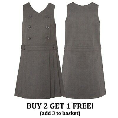 Girls School Pinafore Dress Pleated Grey Double Button Front School Uniform