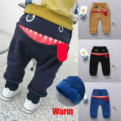 Children Kids Boys Girls Cartoon Shark Tongue Harem Thick Warm Trousers Pants