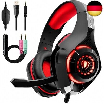 Beexcellent GM-1RED Gaming Kopfhörer für PS4 PC Xbox One, LED Light, rot (Rot)