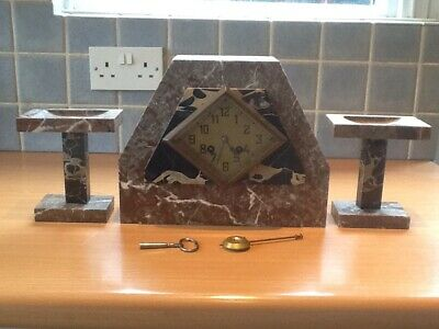 Art Deco Marble Clock, Fully Working with Pendulum, Bell, Key, Needs Cleaning.