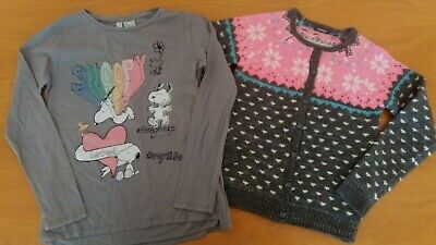 Gorgeous girls sparkly jumper cardigan and snoopy top 9-10yrs VGC