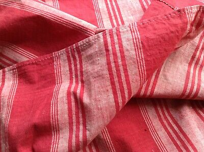 Antique French Cotton ticking fabric RARE  Red & Pink Stripe 19th c. home decor