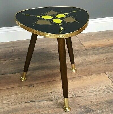 fantastic German Mid Century Modern Plant Stand Tripot 1950´s glass brass Table