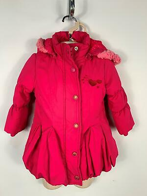 Girls Blue Zoo Hot Pink Padded Zip Up Winter Hooded Coat Kids Age 12/18 Months