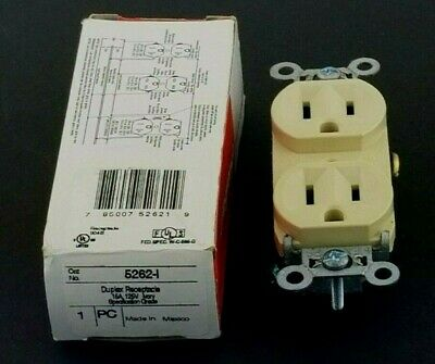 Pass & Seymour legrand, Duplex Receptacle, 15A, 125V, Ivory Specification Grade